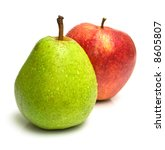 Juicy Green Pear And Ripe Red...