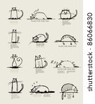 funny cats sketch  design with... | Shutterstock .eps vector #86066830