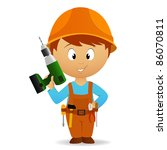 Vector illustration. Cartoon handyman with tools belt and battery drill - stock vector
