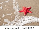 Red starfish and sea wave on sandy tropical beach - stock photo