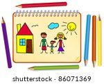 funny sketch of the family with ... | Shutterstock .eps vector #86071369