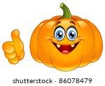 smiling pumpkin showing thumb up