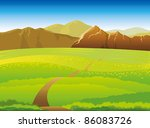 green landscape with meadow ... | Shutterstock .eps vector #86083726
