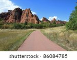 Beautiful geological formations of red sandstone in Roxborough State Park in Colorado, near Denver - stock photo