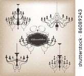set of different chandelier...   Shutterstock .eps vector #86089243