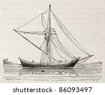 Small photo of Tchickirne old illustration, antique Turkish scow. By unidentified author, published on Magasin Pittoresque, Paris, 1842