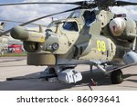 ZHUKOVSKY, RUSSIA - AUG 19: Mi-28 military helicopter is on display at the MAKS airshow on Aug 19, 2011 in Zhukovsky, Russia. - stock photo