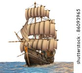 Постер, плакат: Vintage wooden tall ship