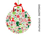 Christmas bauble shape made with social media icons set. - stock vector
