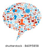 social media bubble shape made... | Shutterstock .eps vector #86095858