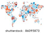 social media network icons in... | Shutterstock .eps vector #86095873