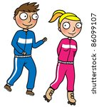 cartoon people doing sports ... | Shutterstock .eps vector #86099107