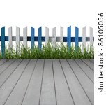 wooden floor with fence and... | Shutterstock . vector #86105056