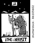 A Tarot card image of the Hermit - stock vector