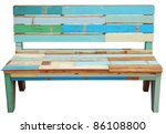 vintage wooden bench isolated... | Shutterstock . vector #86108800