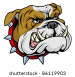 Mean looking illustration of classic British bulldog face - stock photo