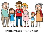 big cartoon family with parents ... | Shutterstock .eps vector #86125405