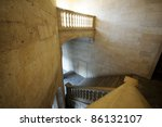 Charles V palace stairs in Alhambra, Andalucia, Granada, Spain - stock photo