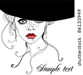 illustrated beautiful lady  ... | Shutterstock .eps vector #86133949
