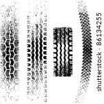 a collection of 4 grunge tire... | Shutterstock .eps vector #86134255