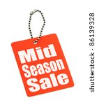 Sale tag on pure white background - stock photo