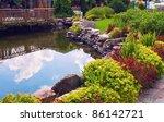 Pond In The Garden On Summer Day