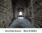 inside the watch tower in the great wall of China - stock photo