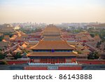 aerial view of beijing forbidden city at dusk - stock photo