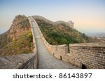 the great wall of China at autumn - stock photo