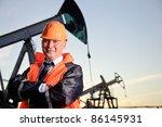 oil worker in orange uniform... | Shutterstock . vector #86145931