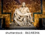 Small photo of Michelangelo's Pieta in St. Peter's Basilica in Rome.