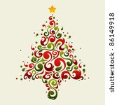 Christmas tree made with green and red ornament shapes - stock vector