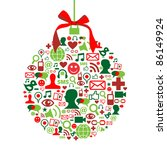 Christmas bauble shape made with social media icons set. - stock photo