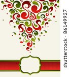 Postcard made with green and red ornate shapes - stock vector