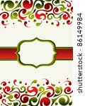 Invitation made with green and red ornate - stock vector