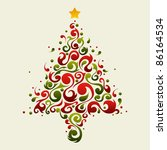 Christmas tree made with green and red floral ornamental shapes - stock photo