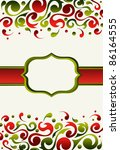 Xmas invitation made with green and red ornate background - stock photo