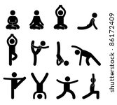 Yoga Meditation Exercise Stretching People Icon Sign Symbol Pictogram - stock photo