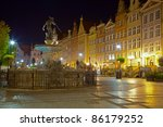 View of the beautiful architecture of the Old Town. Gdansk, Poland. - stock photo