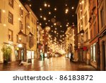 Street In A Christmas Night In...