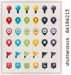 vector map markers set | Shutterstock .eps vector #86186215
