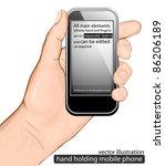 hand holding mobile phone.... | Shutterstock .eps vector #86206189