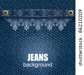 jeans background with leather... | Shutterstock .eps vector #86210209