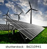 solar energy panels and wind... | Shutterstock . vector #86210941