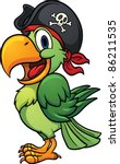 cute cartoon pirate parrot.... | Shutterstock .eps vector #86211535