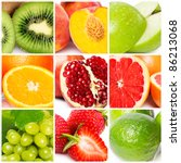 colorful fruit collage | Shutterstock . vector #86213068