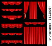set of red curtains to theater... | Shutterstock .eps vector #86220094