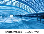 modern airport express station in beijing terminal 3 - stock photo