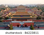 the forbidden city at dusk in beijing,China - stock photo
