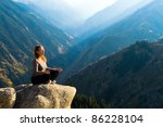 yoga at summit with aerial view ... | Shutterstock . vector #86228104